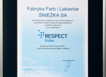 Certyfikat RESPECT INDEKS dla Śnieżki
