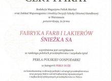 """Śnieżka ponownie z tytułem """"Perła Polskiej Gospodarki"""""""