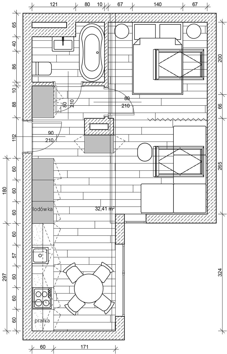 Plan apartamentu wstylu glamour