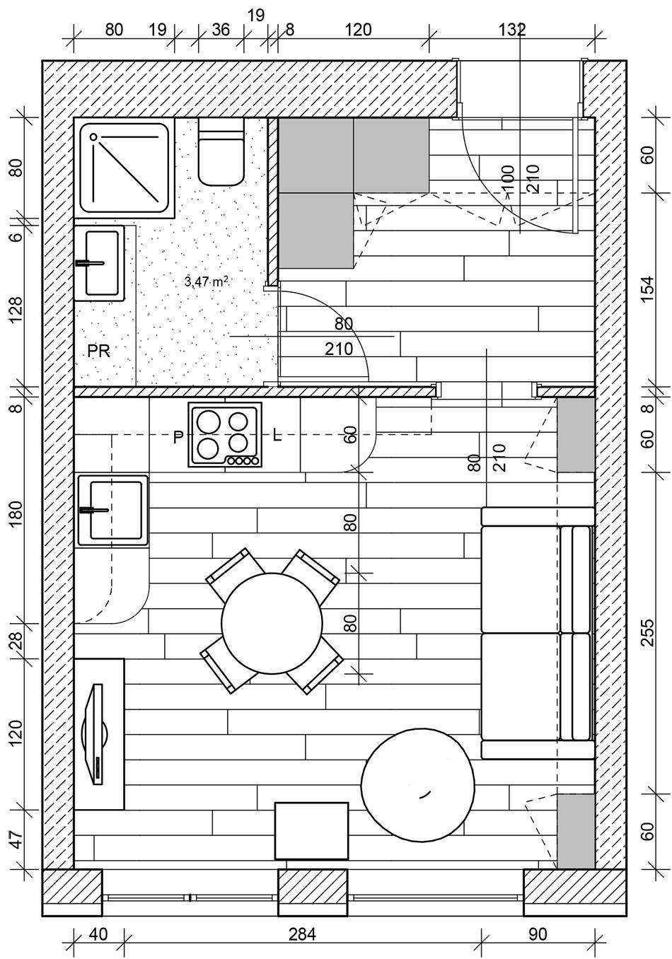Plan apartamentu wstylu lat 70.