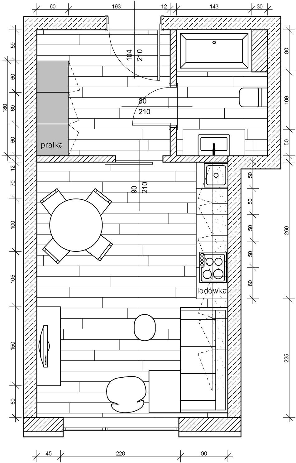Plan mieszkania wstylu loft