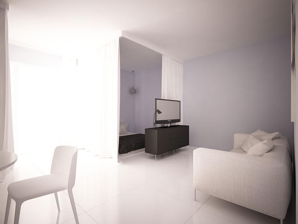 Minimalistycznie urządzone pomieszczenie