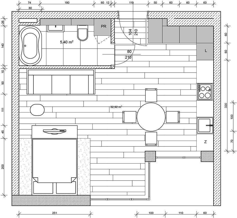 Plan minimalistycznego mieszkania