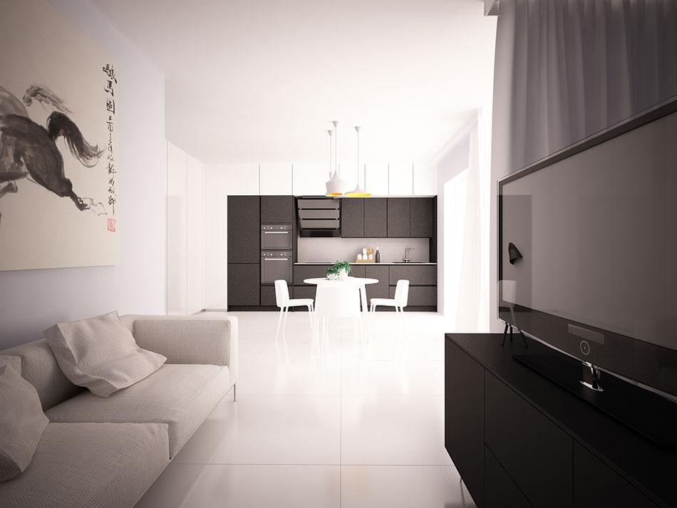 Salon urządzony wstylu minimalistycznym