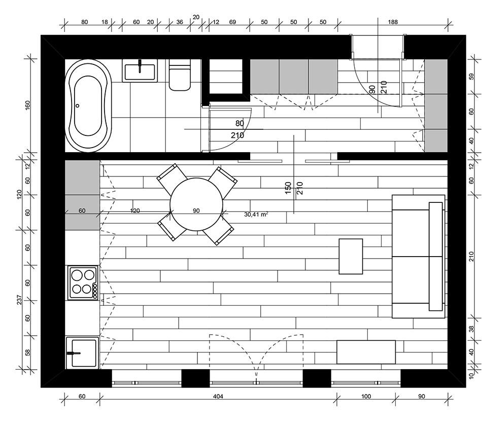 Plan mieszkania wstylu paryskim