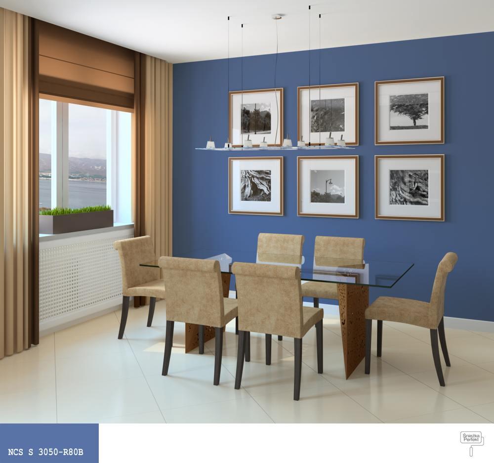 Aranżacje salonu – kolor niebieski  Farby Śnieżka