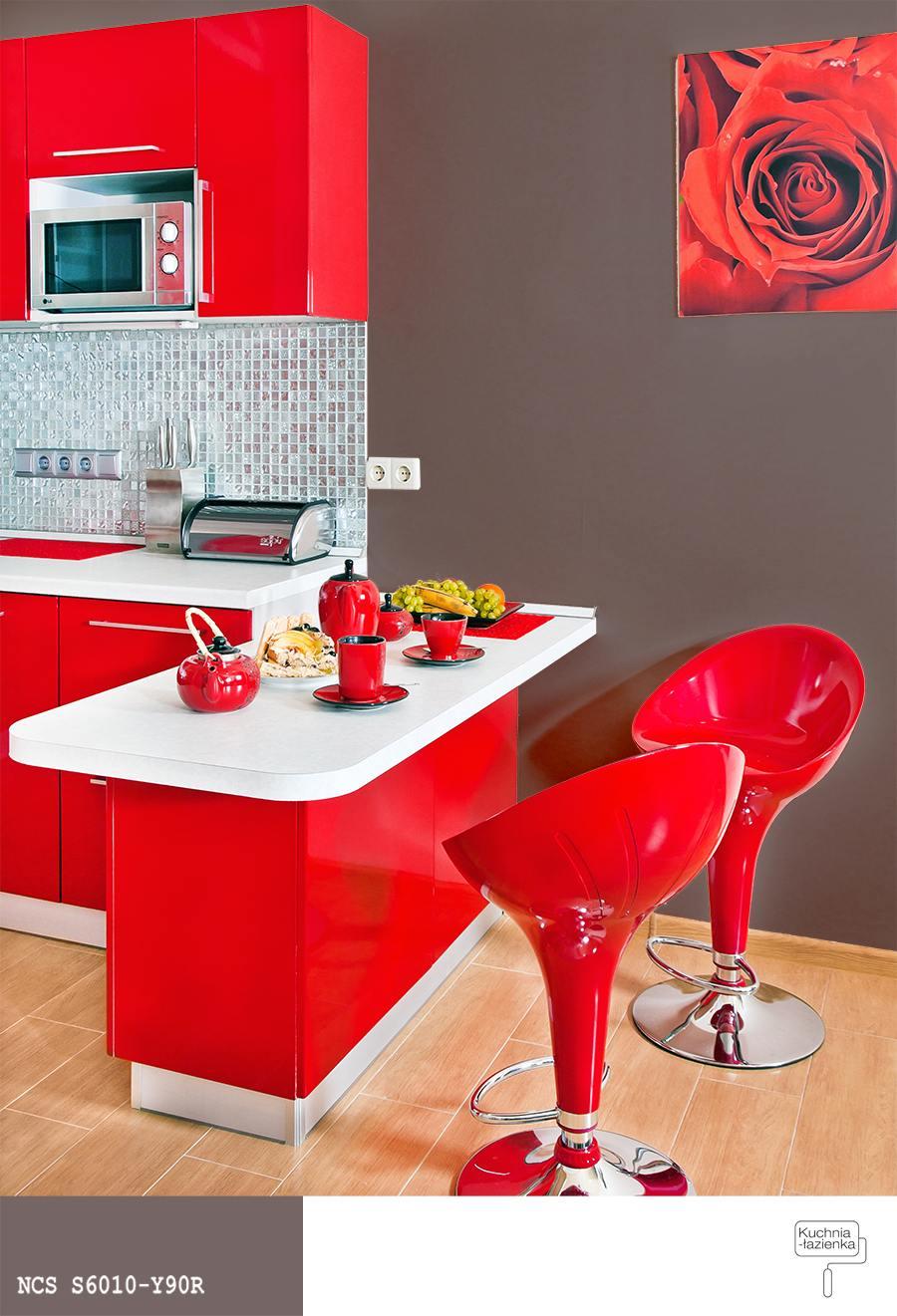 Niesamowite Czerwona kuchnia – jak dobrać kolor farby do ścian? » Farby Śnieżka NO23